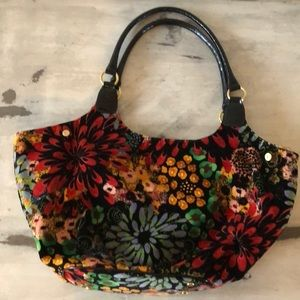 Talbots Velvet Folwer purse size adjustable